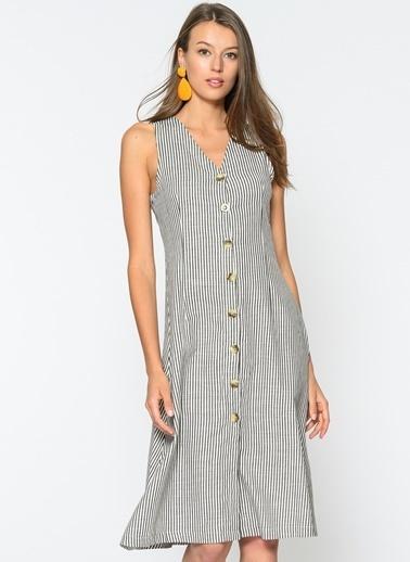 Loves You Kalın Askılı Düğmeli Elbise Füme